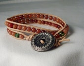 Brown Leather 2x wrapped Bracelet/Anklet with Vintage Button US FREE Shipping