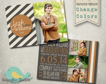 Boy Graduation Announcement PHOTOSHOP TEMPLATE - Senior Graduation Announcement 32
