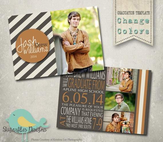 Boy graduation announcement photoshop template senior for Senior announcement templates free
