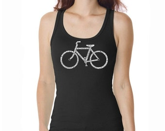 Women's Tank Top - Created using the word Save a Planet, Ride a Bike