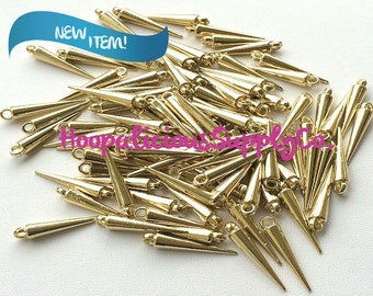 25 Small SHINY GOLD Spike Beads with Top Loop. Made of Acrylic. FAST Shipping. Tracking Included for Domestic Buyers