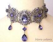 Tanzanite Swarovski Crystal Choker  - Victorian Gothic Bridal Silver Choker - Bridal Necklace -Victorian Gothic Jewelry - Wedding Jewelry