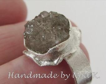Reticulated Silver Smokey Quartz Ring - Handmade ring