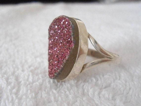 Sterling Silver stone Ring - Sparking Titanium agate ring