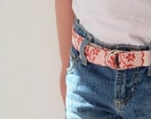 Pretty Girl's Belt, Kids Fabric Belt, Red and Cream Handprinted Durable Linen, Easy D-Ring Closure