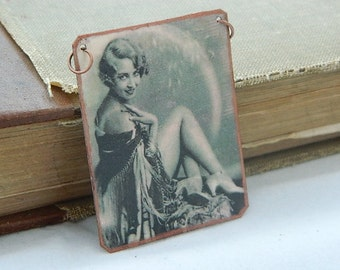 Pin up necklace mixed media jewelry Ziegfeld Follies Doris Eaton Travis