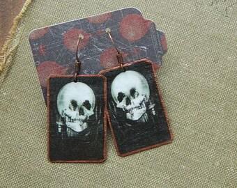 Art earrings All is Vanity Skull Art  mixed media jewelry wearable art
