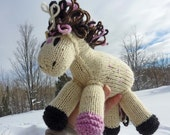 Candy: Knitted Pony Toy Pink Speckled Valentines Day Toy Pony Stuffed Animal Natural Horse Toy