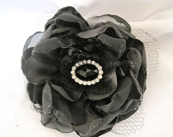 Black Multi Fabric Flower Wedding  Bridesmaid Mother of the Bride Flower Hair Clip Brooch  with Black Rhinestone Accent