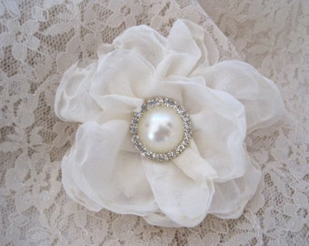 Petite Ivory Chiffon Bridal Wedding Flower Hair Clip, Bride, Bridesmaid, Mother of the Bride with Pearl and Rhinestone Accent