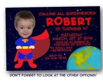 Superman birthday invitation, digital file, printable, jpeg, birthday party, photo invitation