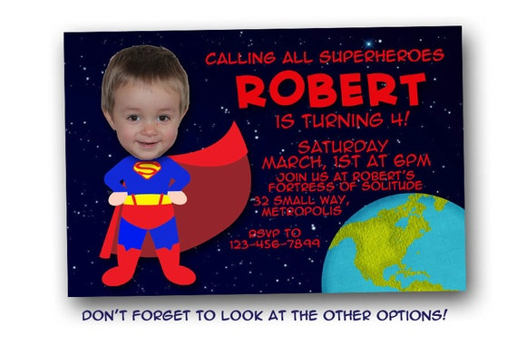 Superman Birthday Invitation Digital File Printable Jpeg