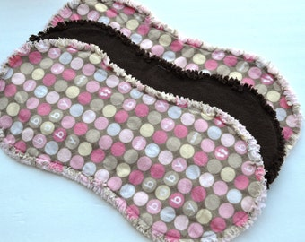 Baby girl burp cloth set of 3 : Flannel, Contoured, Baby burpcloths, Burp rags, burpclothes, burprags, polka dots, circles, pink brown
