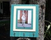 Picture Frame, Distressed Picture Frame, Teal Frame, 8x10 Frame, Keyholder, Kitchen Organizer, Leash Holder