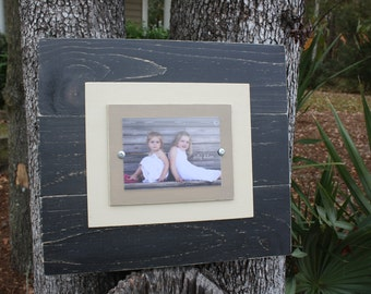 Oversized Frame, Distressed 5x7 Picture Frame, Rustic Picture Frame, Wood Plank Frame, valentines day gift