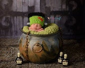 Newborn Halloween Hat Frankenstein Monster Photo Prop 0-12 Months Photography Costume