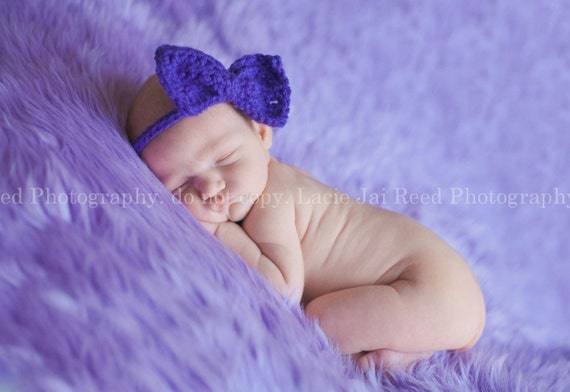 Newborn Bow Tie or Headband Tie Back Girls and Boys Photo Prop - Pick Your Color