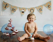 I'm One Burlap Banner Party bunting Photo Prop Cake Smash Garland First Birthday Second Birthday Party decor decoration cake banner girl boy - KyliesChicBoutique