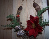Holiday rustic decorated christmas horseshoe home decor