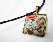 Authentic Superman comic book glass pendant necklace DC Justice League