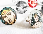 DC Comic book adjustable rings, large style. Made from original vintage DC Wonder Woman comics.