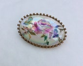 Austria Porcelain Rose Flower Brooch 1940s Vintage Jewelry