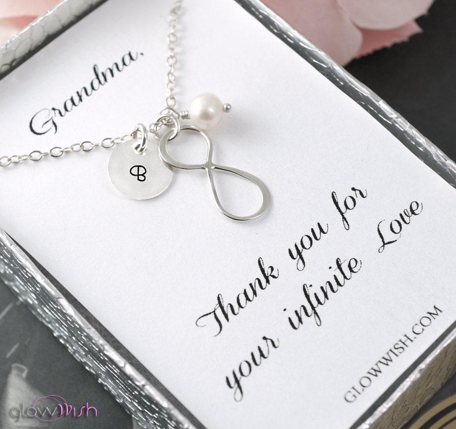 grandma jewelry thank you card infinity necklace custom