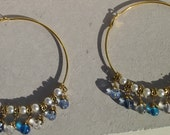 Marble Dangle Bead Hoop Earrings in Gold with Pearl Beads
