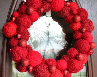 "Christmas Wreath, Yarn Ball Wreath 14"" in reds, MADE TO ORDER"