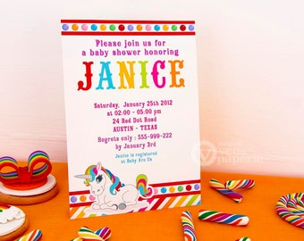 DIY PRINTABLE Invitation Card - Unicorn Rainbow Baby Shower Party Invitation - F3a