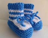 Baby Boy Booties Blue White Knitted Soft Handmade Baby Shower  6-9 Months Ready to Ship