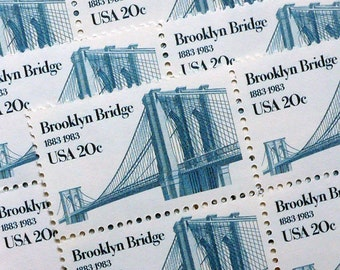 25 pieces - 1983 20 cent Brooklyn Bridge Vintage unused stamps - great for wedding invitations, moving announcements, crafts, etc