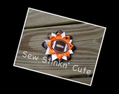 Layered, spiked Embroidered Football Hairbow