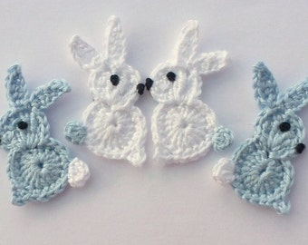 Crochet rabbits, Crochet appliques, 4 small Easter bunnies, cardmaking, appliques, scrapbooking, craft embellishments, sewing accessories.