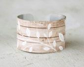 Wood Print Bracelet - Cuff Bracelet - Wood Design Bracelet - Metal Cuff - Aluminum Cuff - Large Cuff Bracelet by Zoe Madison (107)
