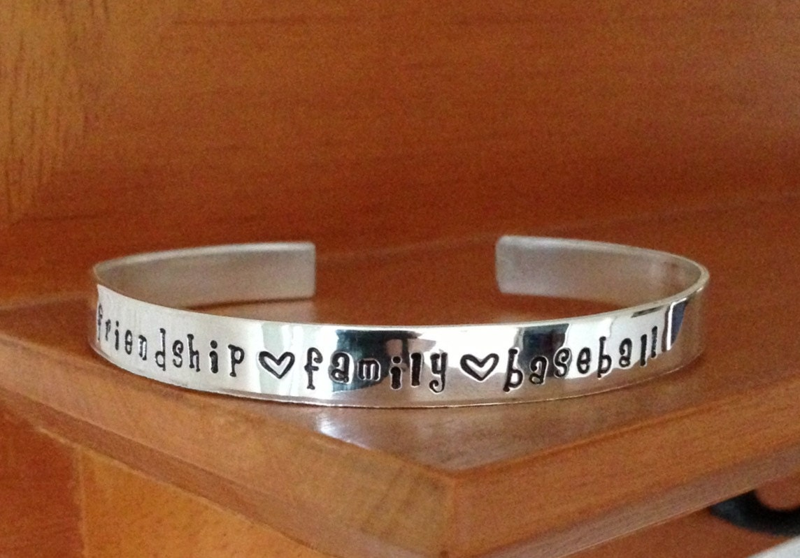 Personalized Sterling Silver Hand Stamped Cuff Bracelet