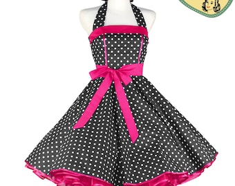 50's vintage dress full skirt Lolita black white pink classic Tailor Made after your measurements #0042