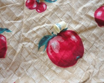 red apples novelty print vintage cotton fabric -- 36 wide by 2/3 yard