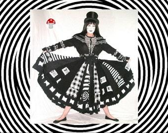 Elf Coat Optical Illusion Size Medium / Large Gothic Steampunk Dress Black White Hooded Cape Psychedelic Sweater Art Recycled Duster Jacket