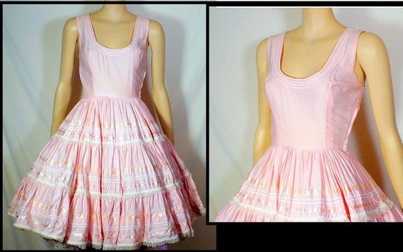 XS Frosted Pink Tea Party Dress Vintage 60s Cotton Full Skirt XSmall 0