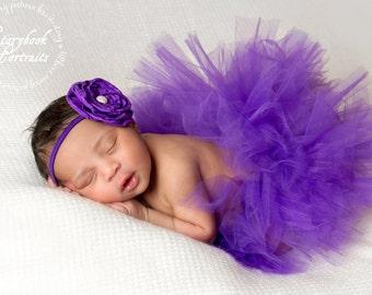 Purple Perfection Tutu and Matching Couture Flower Headband (SET) - NEWBORN size - Beautiful Newborn Girl Photo Prop and Keepsake