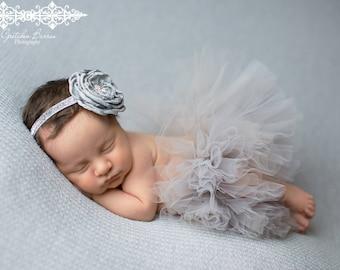 Sliver Gray Tutu and Matching Platinum Couture Flower Headband (SET) - NEWBORN size - Beautiful Newborn Girl Photo Prop and Keepsake