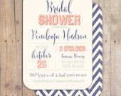 Vintage Navy Coral Calligraphy Something Blue Bridal Shower Invitation Baby Shower Invite