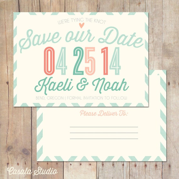 Rustic Chic Turquoise Mint Peach Coral Save the Date Postcard Wedding Announcement Printable Invitation OR Printed Card