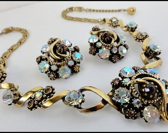 Vintage Florenza Necklace and Clip Earrings Amber Smoky Topaz and AB Rhinestones 1960's Victorian Revival 24k Gold Plate Setting