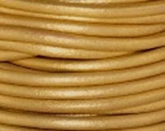 3 Yards - 1.5 mm Leather Cord - Metallic Gold - 3 yards - 9 feet
