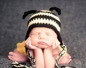 Crochet Bumble Bee Hat -- Baby and Toddler sizes
