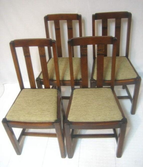 Antique Oak Dining Room Sets: Antique Set 4 Carved Slat Oak Art Deco Pub Kitchen Dining Room