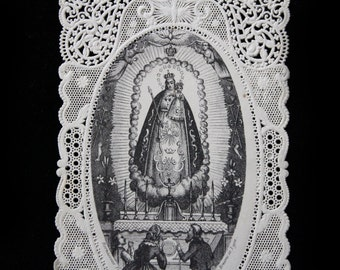 SALE- Antique  Holy Card-Paper Lace-  Beautiful Portrayal of the Madonna De Lumiere