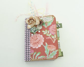 Mini Journal, Altered Mini Notebook, Notebook, Journal, Floral Journal, Booklet, Mini Notebook